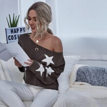 Drop Shoulder Star Pattern Oversized Crop Sweater