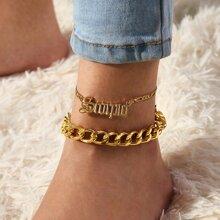 2pcs Letter & Chain Decor Anklet
