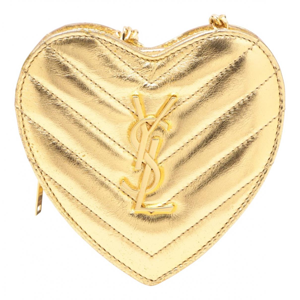 Saint Laurent - Pochette   pour femme en cuir - dore