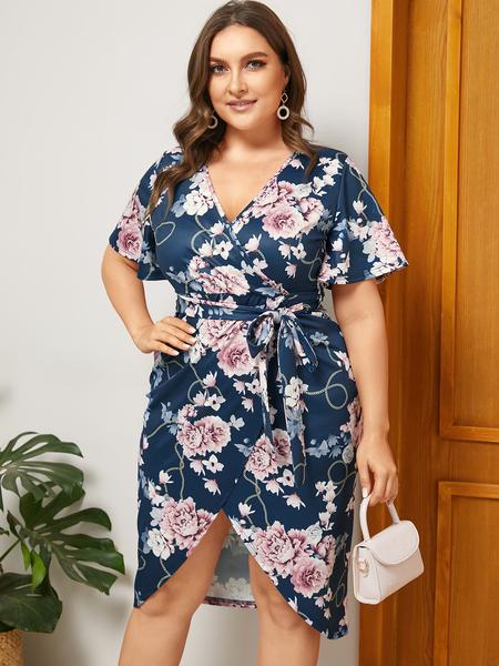 Yoins Plus Size Navy Belt Design Floral Print V-neck Dress