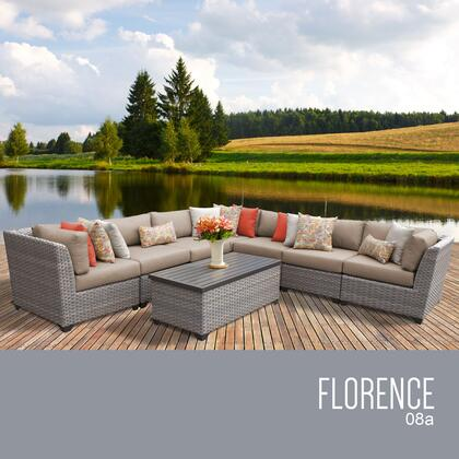 FLORENCE-08a-WHEAT Florence 8 Piece Outdoor Wicker Patio Furniture Set 08a with 2 Covers: Grey and