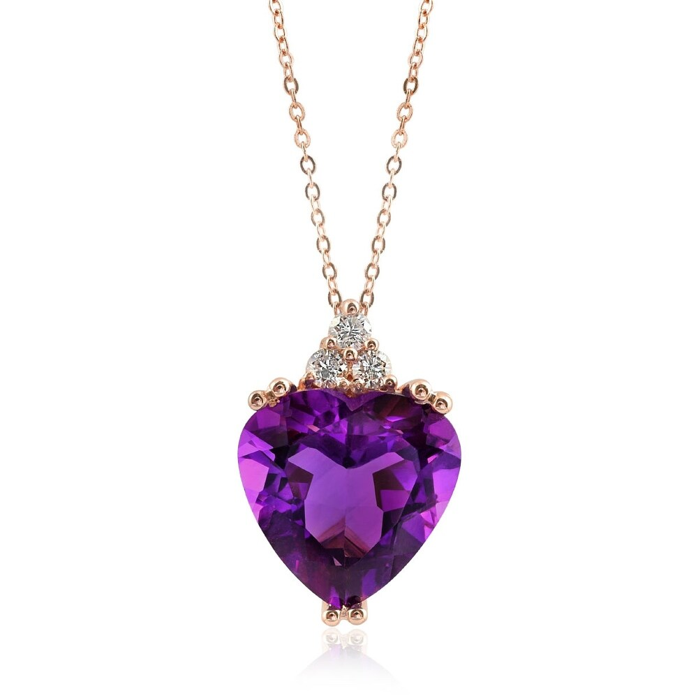 14k Rose Gold  4.48ct TGW Natural Amethyst and Diamond Heart Necklace (Rose - 18 Inch - Amethyst - Purple - White)