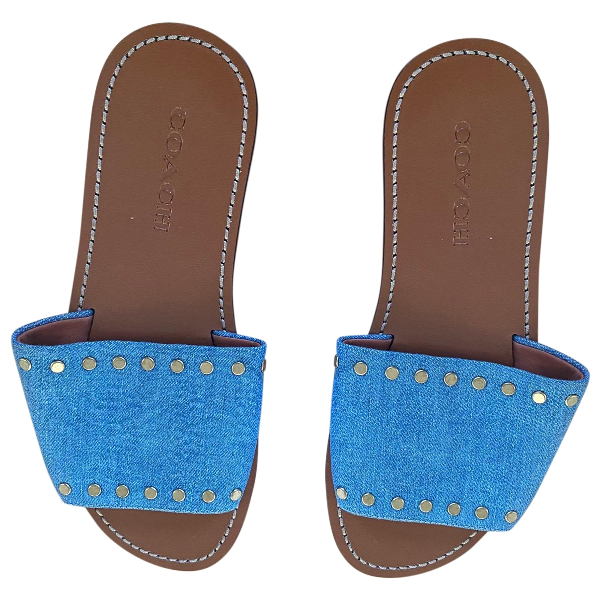 Coach - Sandales   pour femme en toile - bleu
