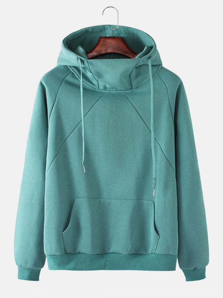 Mens Solid Color Plus Velvet Cotton Overhead Drawstring Pullover Hoodie