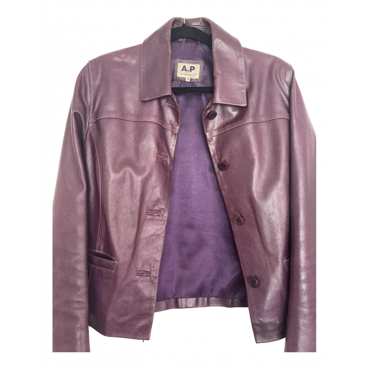 Non Signé / Unsigned \N Purple Leather jacket for Women 40 FR