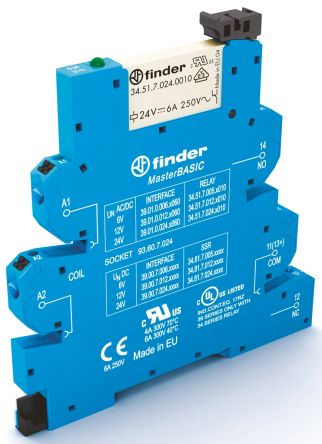 Finder , 12V ac/dc SPDT Interface Relay Module, Push In Terminal , DIN Rail
