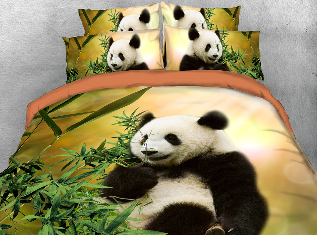 3D Panda 4Pcs Rust Quilt Cover Soft Duvet Cover Set with Zipper Ties