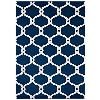 Beltara Collection R-1129B-810 Chain Link Transitional Trellis 8x10 Area Rug in Moroccan Blue and Ivory