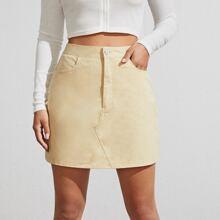 High Waist Solid Skirt
