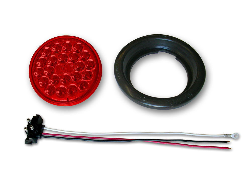 Poison Spyder 41-04-050 4 Inch Red 24-LED Taillight W/Pigtail/Grommet Each 41-04-050