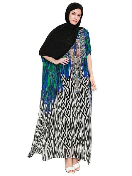 Milanoo Oversized Abaya Dress Half Sleeve V Neck Ethnic Print Kaftan Dress