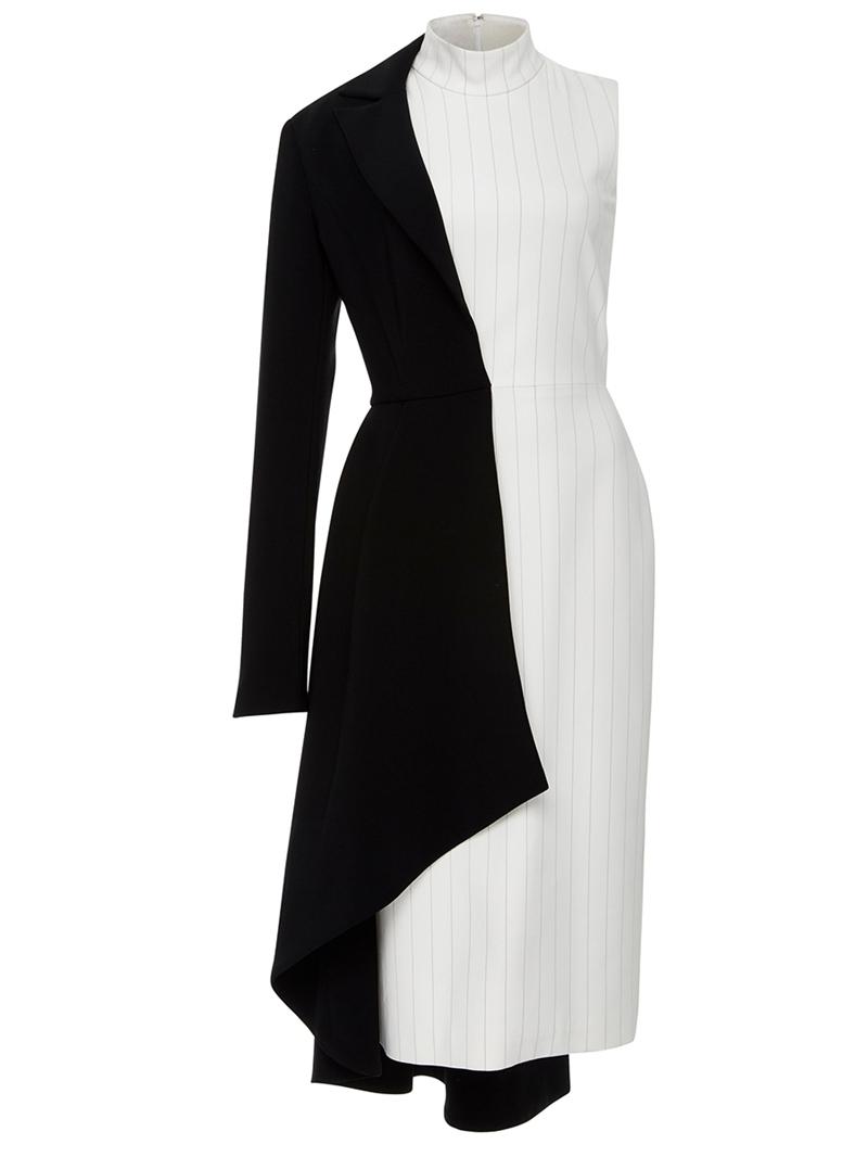 Ericdress Stand Collar Striped Asymmetric Color Block A Line Dress