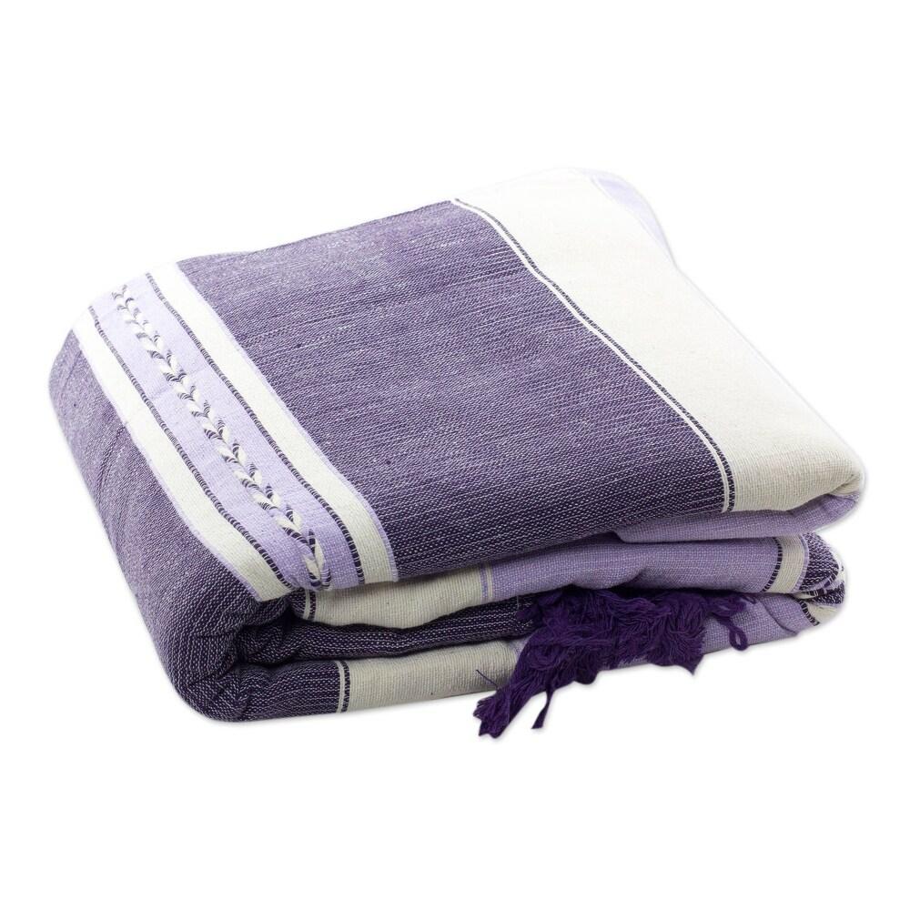 Handmade Lavender Warmth (twin) Zapotec cotton bedspread (Mexico) (Multi - 34 x 25 x 14)