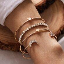 4pcs Rhinestone Decor Star & Moon Decor Bracelet