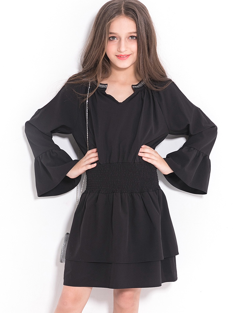 Ericdress Elegant Bell-Sleeve Pleated Stapless Fall Girl's Dress
