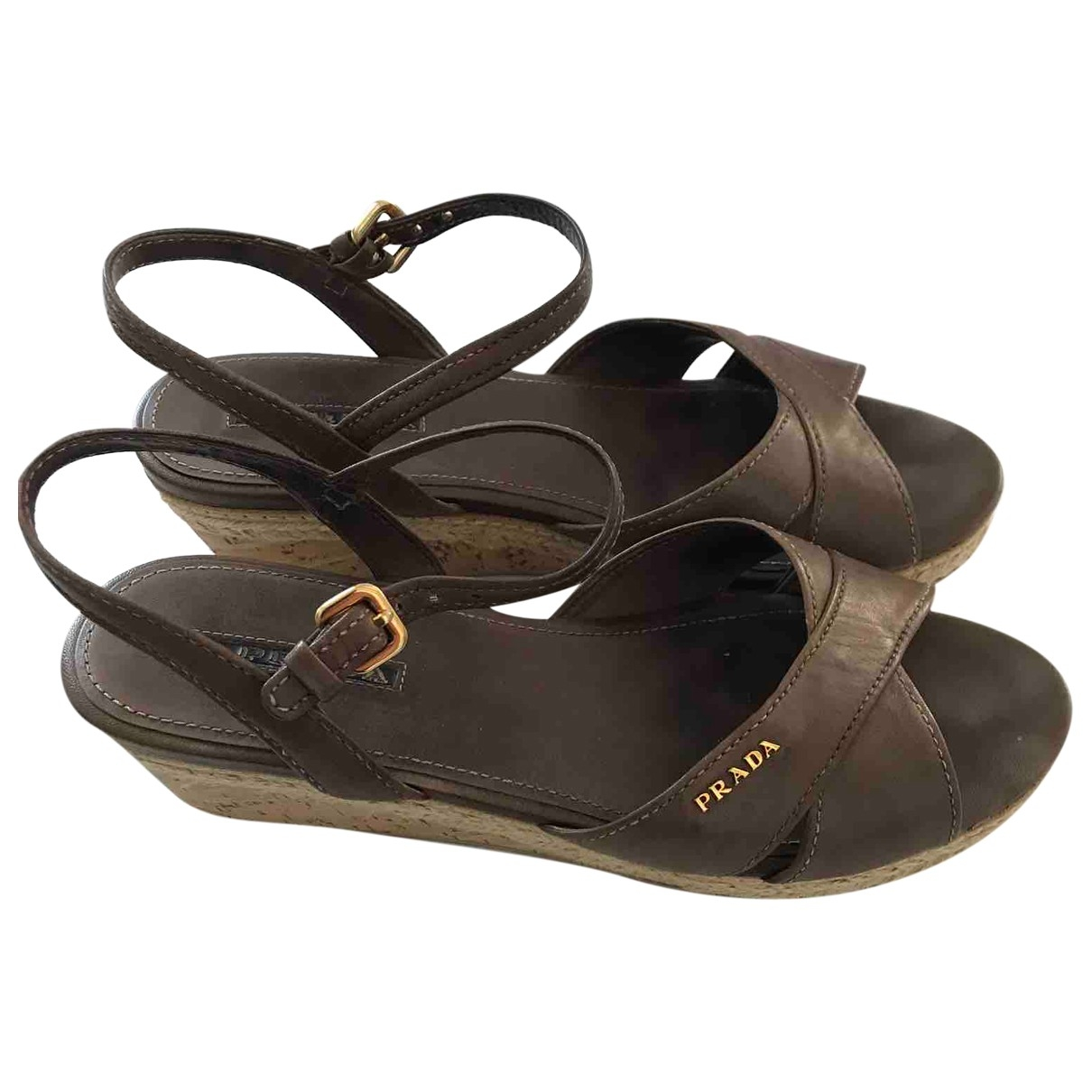 Prada \N Brown Leather Sandals for Women 38.5 EU