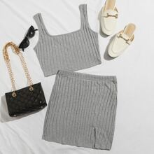 Rib-knit Crop Tank Top & Split Hem Skirt Set