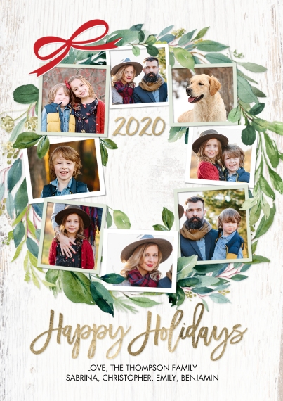 Christmas Photo Cards 5x7 Cards, Premium Cardstock 120lb with Rounded Corners, Card & Stationery -2020 Holiday Green Wreath by Tumbalina