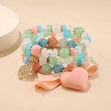 3 Stuecke Armband mit Herzen Anhaenger und Perlen