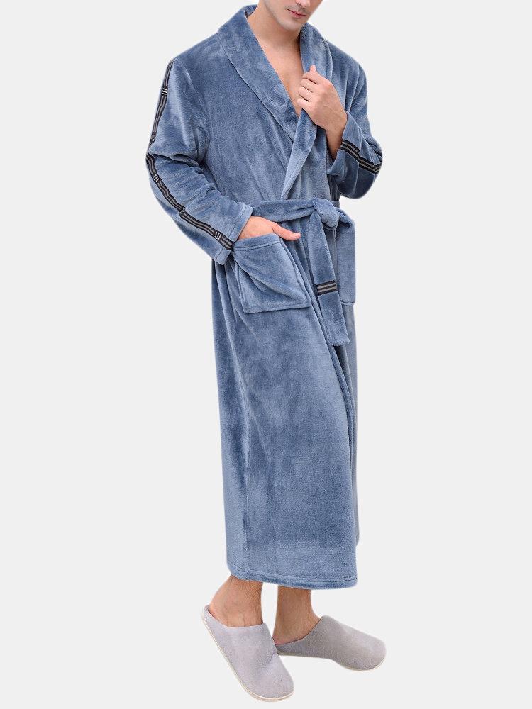 Men Flannel Pajamas Robe Comfortable Long Sleeve Stirped Drawstring Bathrobe
