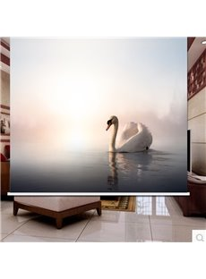 3D White Goose in the Peaceful Lake Printed Animal Style Blackout Curtain Roller Shade