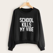 Slogan Graphic Crew Collar Sweatshirt