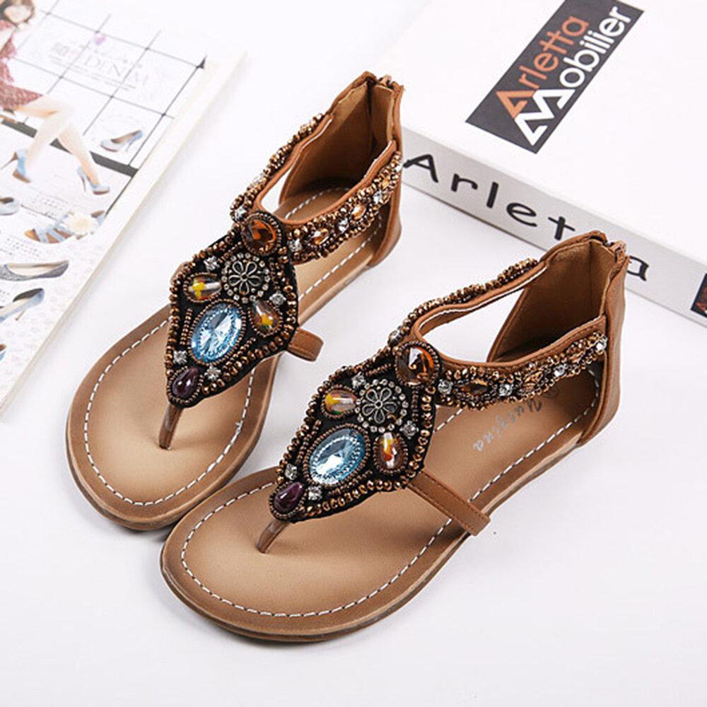 Women Rhinestone Bohemian Style Clip Toe Zippers Flats Sandals