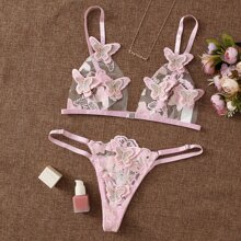 Butterfly Appliques Embroidered Mesh Lingerie Set