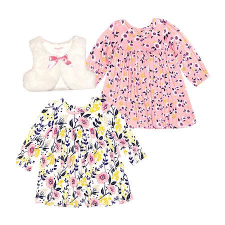 Nannette Baby Girls Long Sleeve Dress Set, 12 Months , White