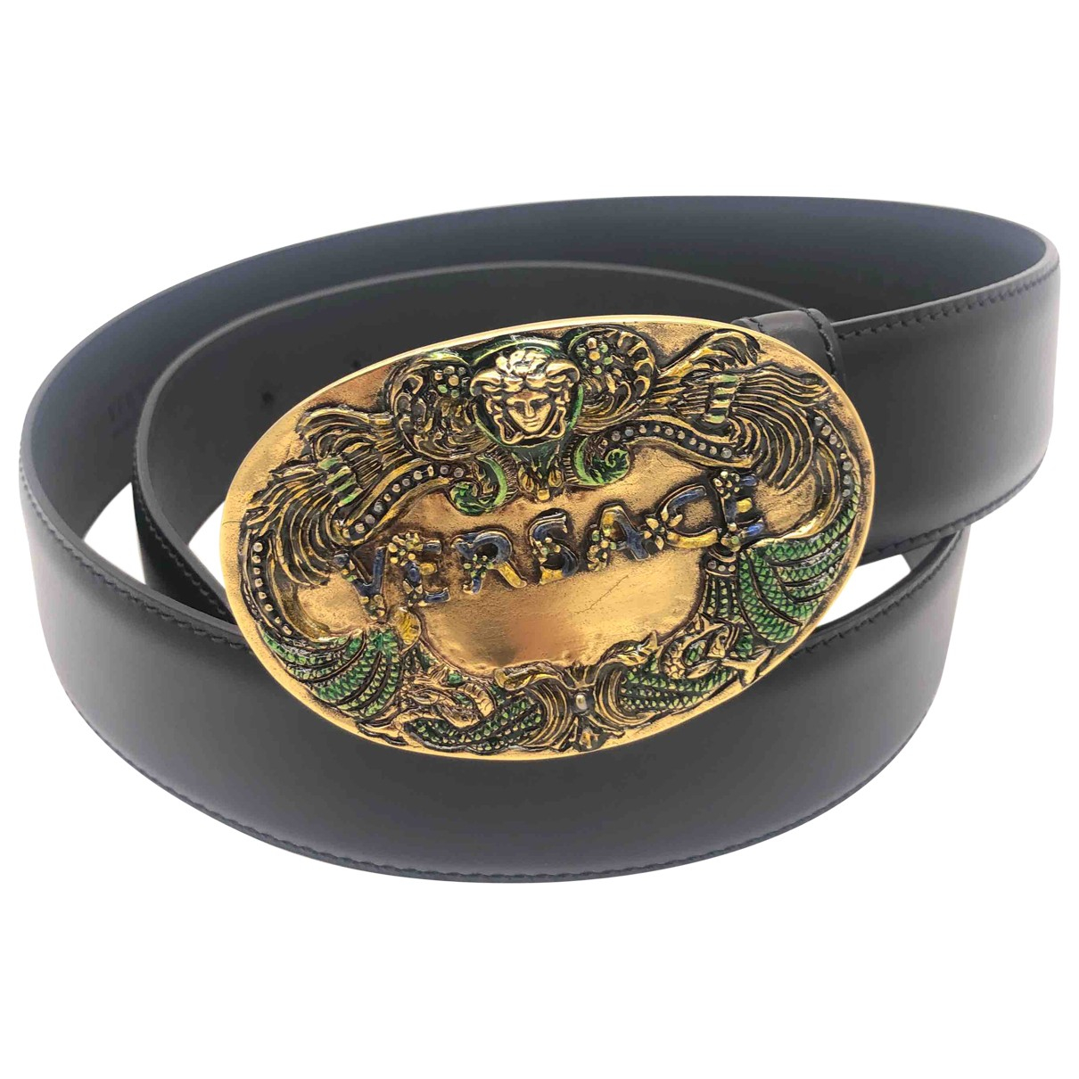 Versace \N Guertel in  Schwarz Leder