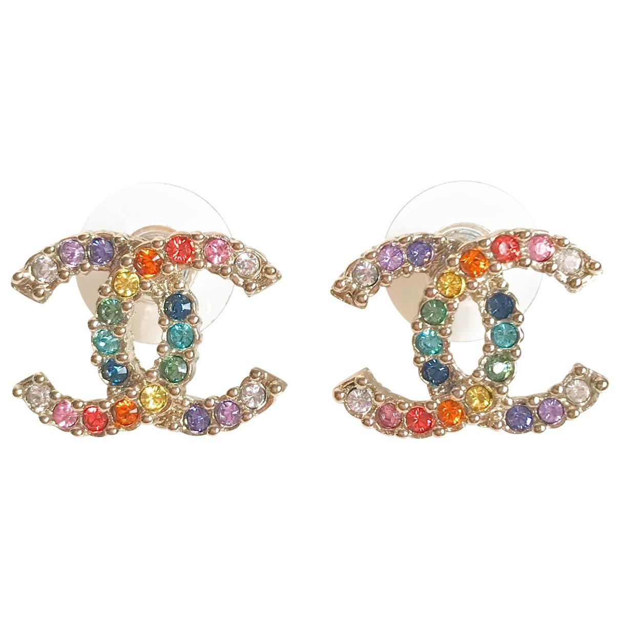Chanel - Boucles doreilles CC pour femme en cristal - multicolore