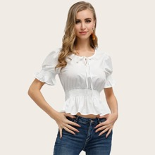 Kate Kasin Tie Beck Shirred Peplum Top