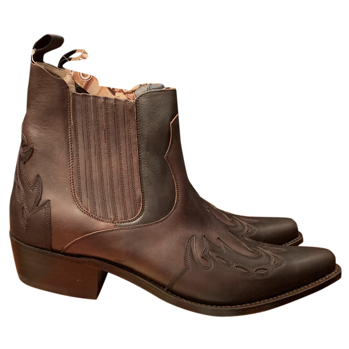 Non Signé / Unsigned N Brown Leather Boots for Men 43 EU
