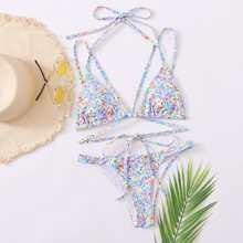Ditsy Floral Triangle Harness Bikini Swimsuit