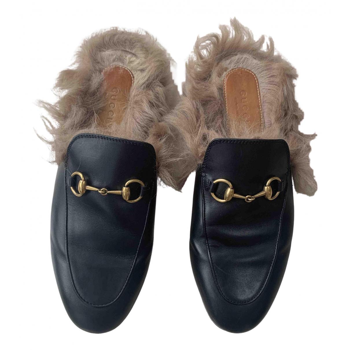 Gucci Princetown Mokassins in  Schwarz Leder