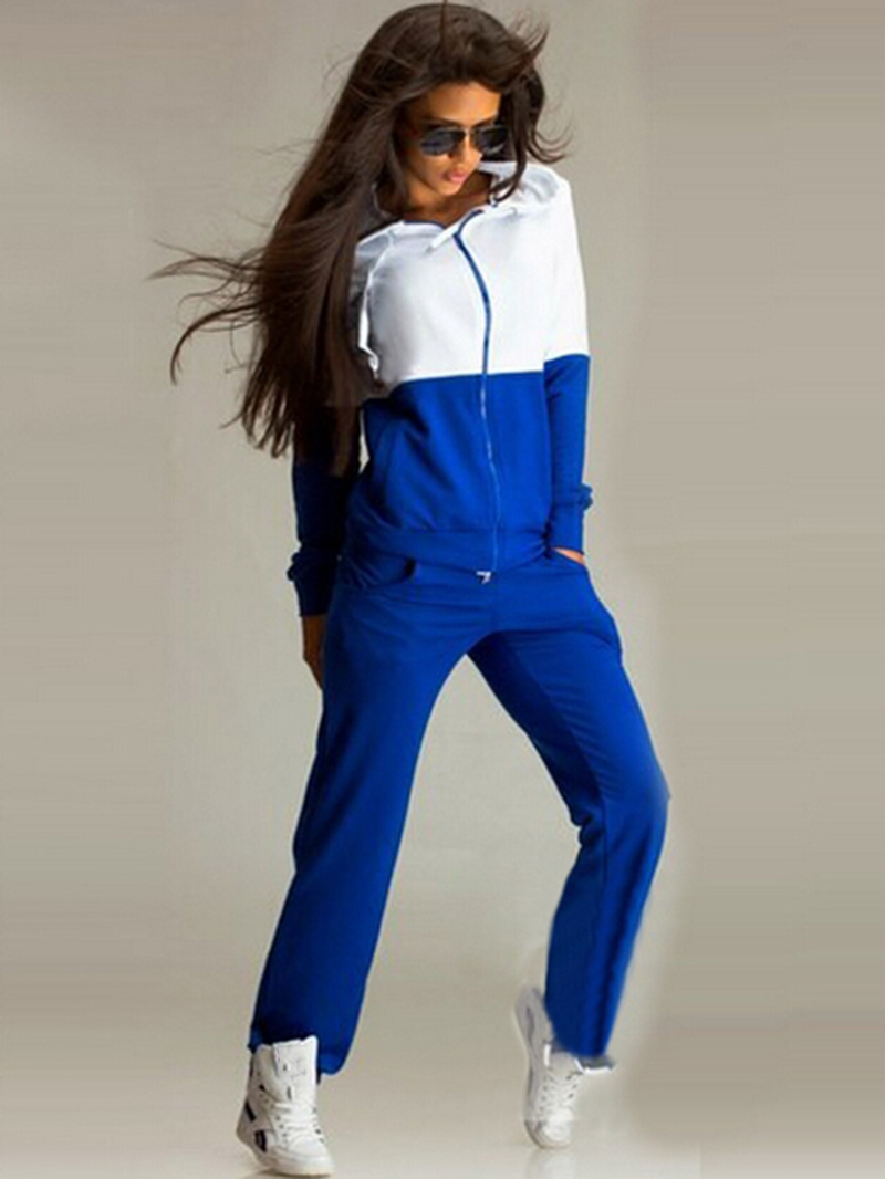 Ericdress Color Block Patchwork Pocket Zipper Hoodie and Pants Two Piece Sets