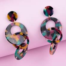 Acrylic Round Chain Drop Earrings