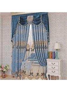 European ans Noble Navy Blue Organza Custom Sheer Window Curtain for Living Room