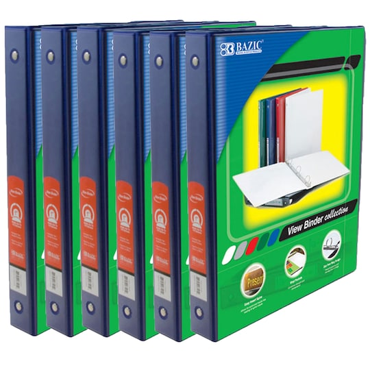 Bazic® 3 Ring View Binder With Pockets, 6Ct. in Blue | 1 in | Michaels®