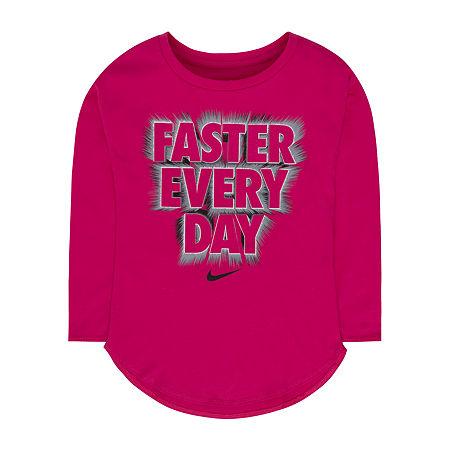 Nike Little & Big Girls Round Neck Long Sleeve T-Shirt, 6x , Pink