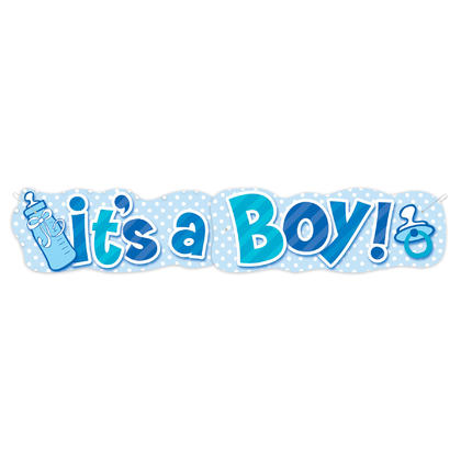 Boy Baby Bottle Giant Jointed Banner, 4.5 ft