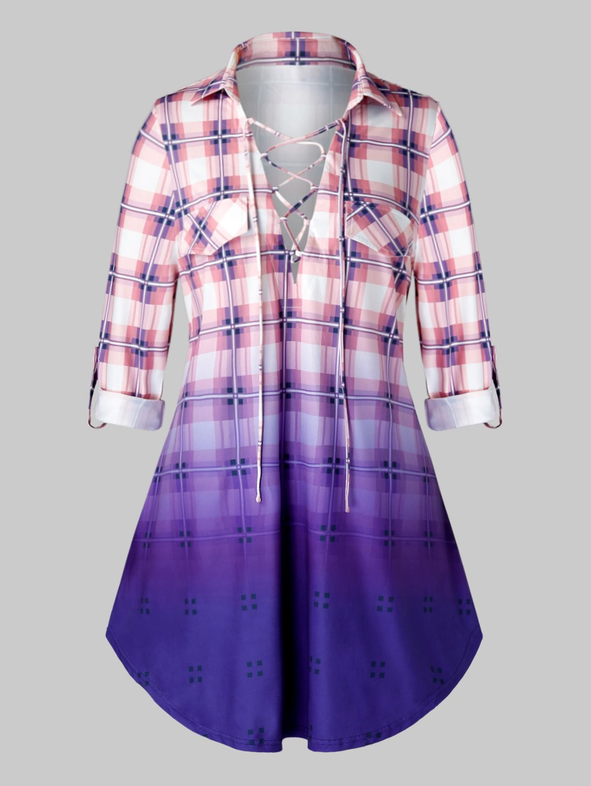 Plus Size Plaid Lace Up Roll Tab Sleeve Longline Top