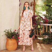 Kleid mit Blumen Muster, Kontrast Spitze und Raffungsaum