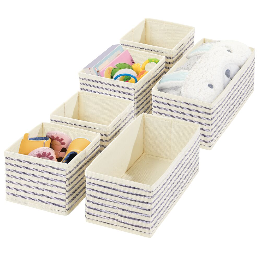 Fabric Drawer Organizers for Baby + Kids - Multiple Sizes in Natural/Cobalt Blue Stripe, 12