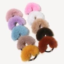 10pcs Toddler Girls Faux Fur Decor Hair Tie