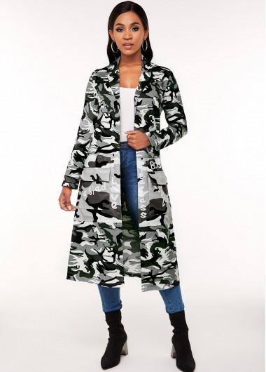 Turndown Collar Camouflage Print Pocket Trench Coat - S