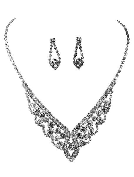 Milanoo Silver Wedding Jewelry Set Rhinestones Bridal Necklace With Earrings