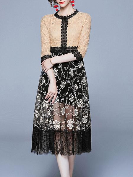 Milanoo Lace Dresses Khaki Jewel Neck Sleeves Asymmetrical Lace Retro Floral Print Dresses