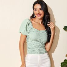 Ruched Detail Solid Blouse