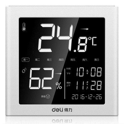 Deli 8958 Electronic Thermometer And Hygrometer Household Indoor Alarm Clock Office Electronic Outdoor High Precision Th